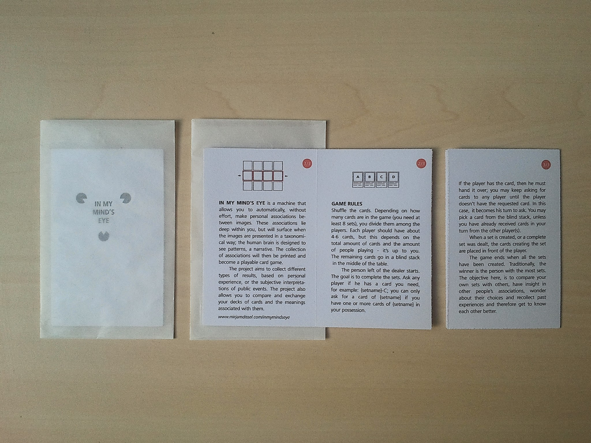 Little bag for safekeeping of card, also contains explanations of project and game