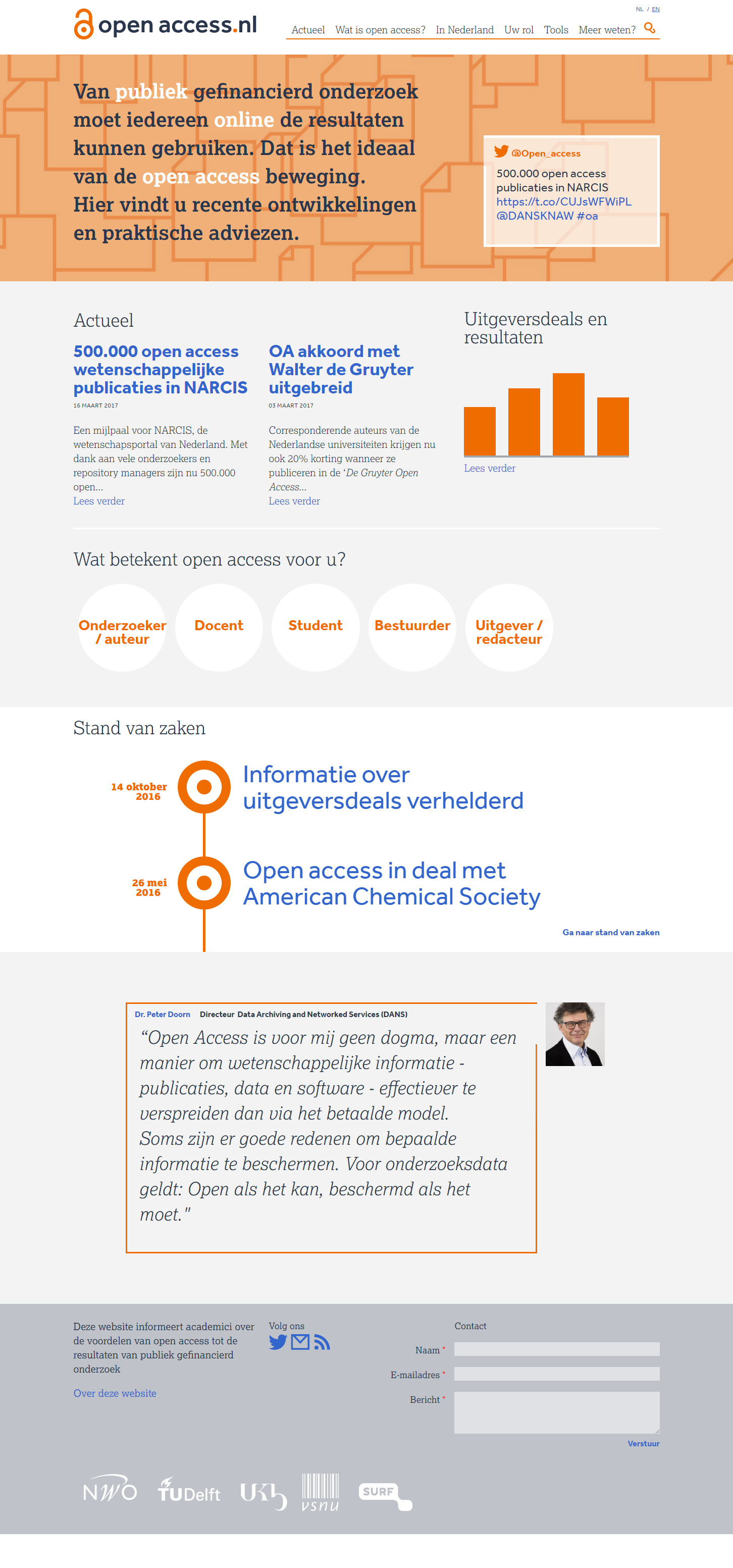 screenshot homepage website open access